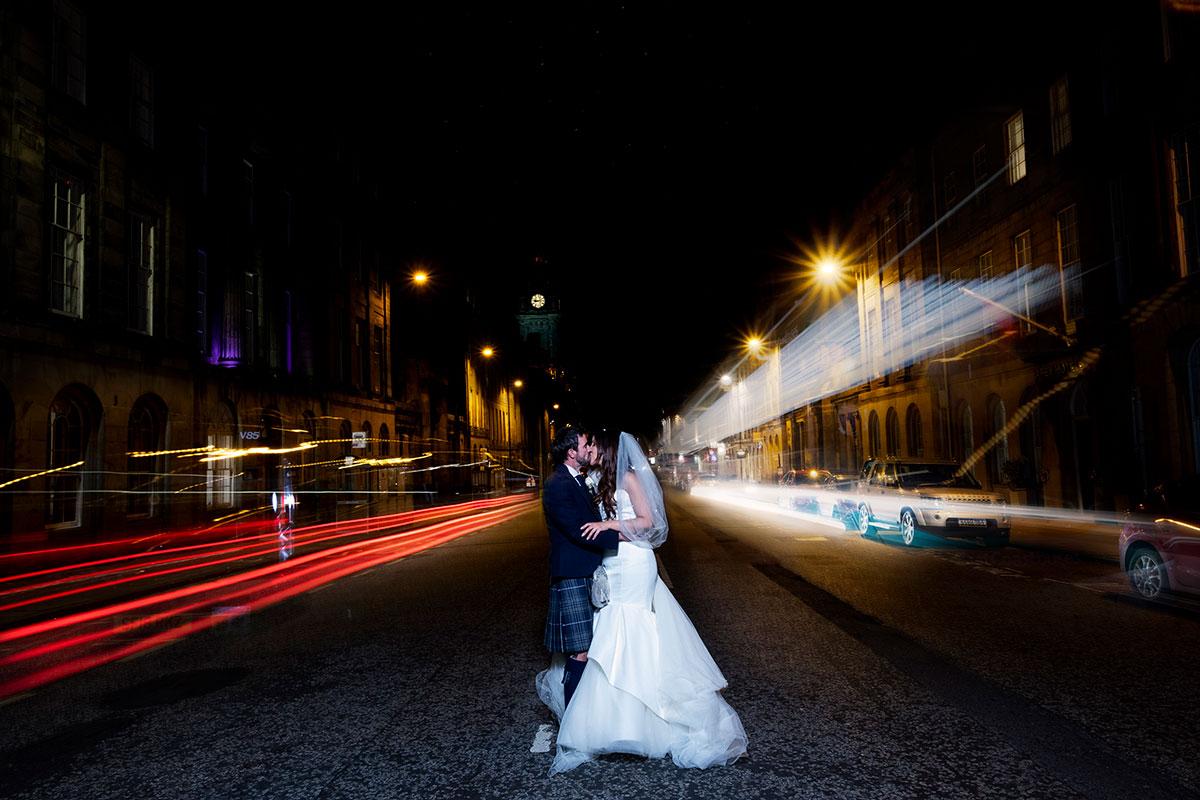 bride-groom-nighttime-edinburgh-street