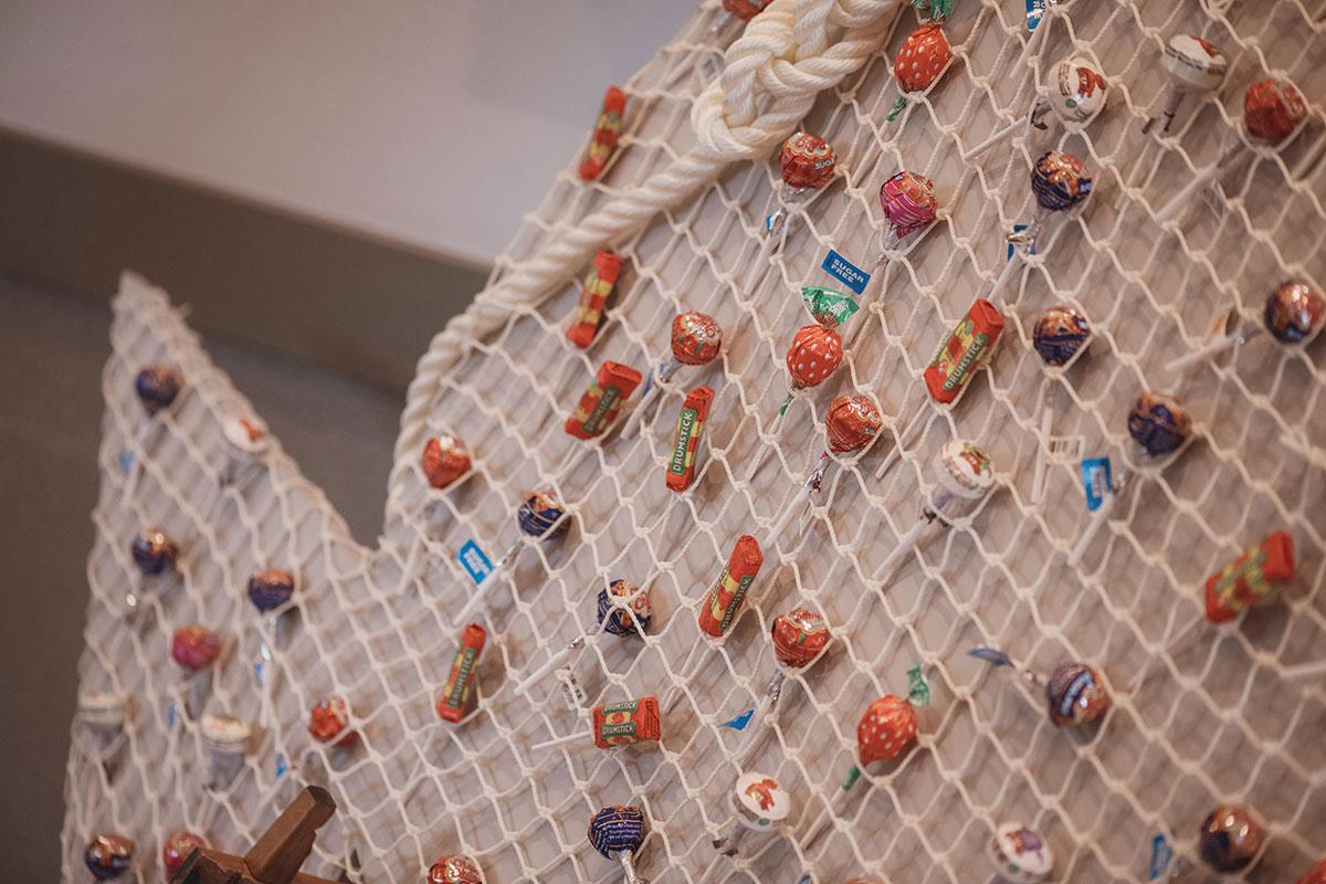Aboyne Photographics Meldrum House Aberdeen wedding venue lollipop netting decor