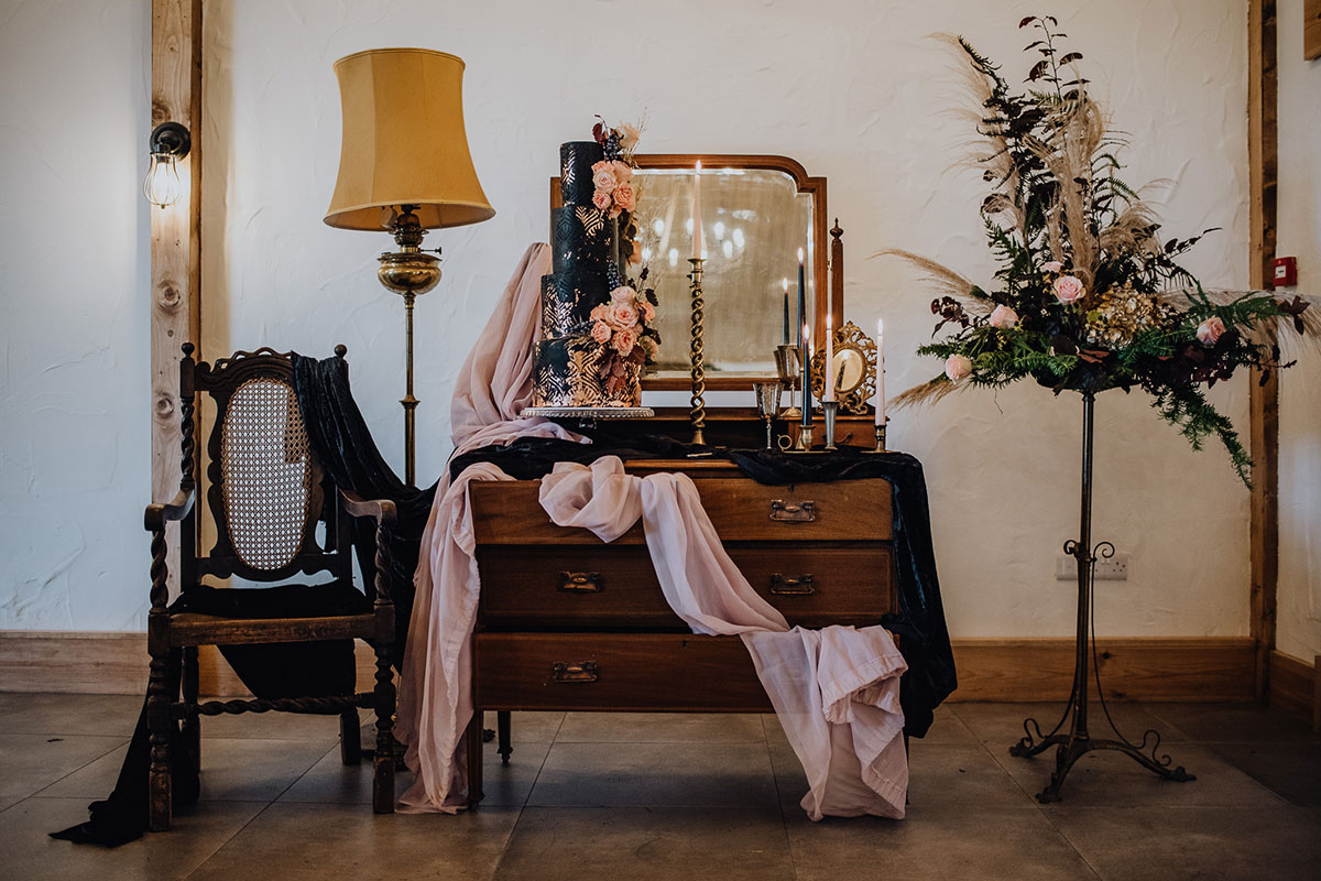 Roodlea-Barn-autumn-gothic-halloween-barn-wedding-styled-desk-cake-flowers