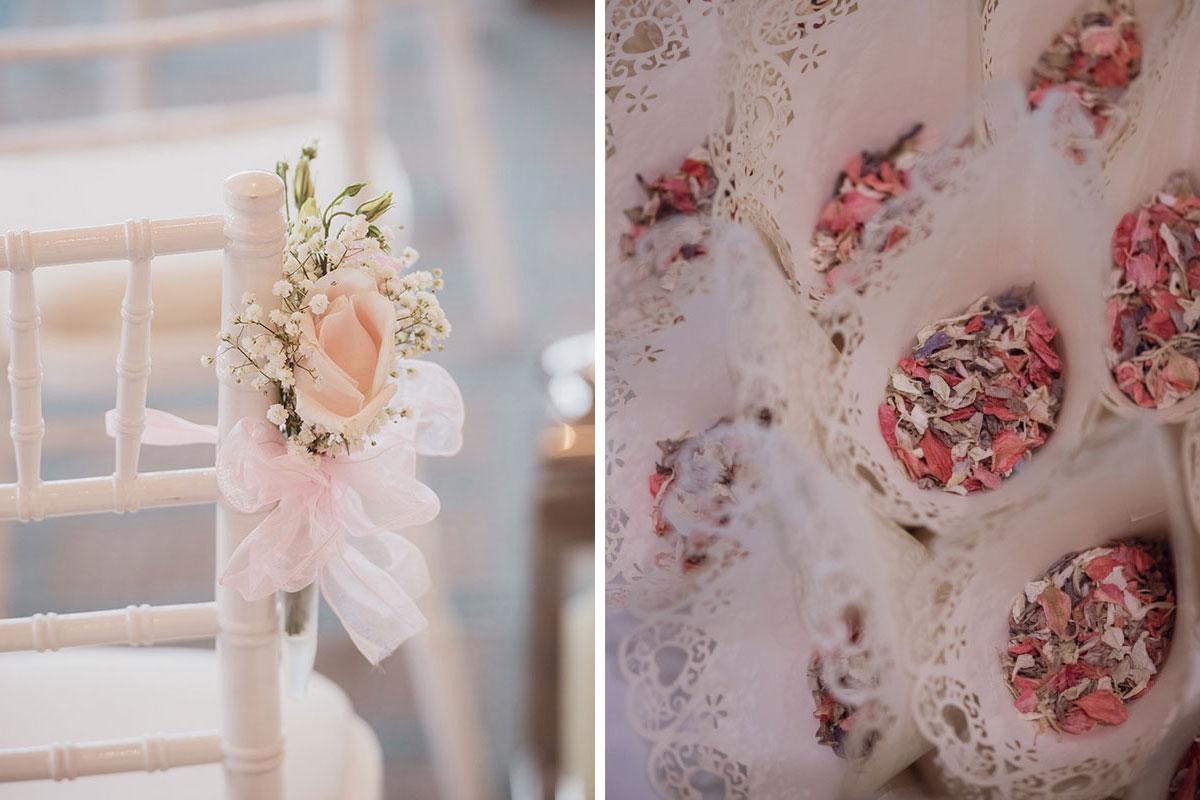 Aboyne Photographics Meldrum House Aberdeen wedding venue chair flower decoration and confetti cones