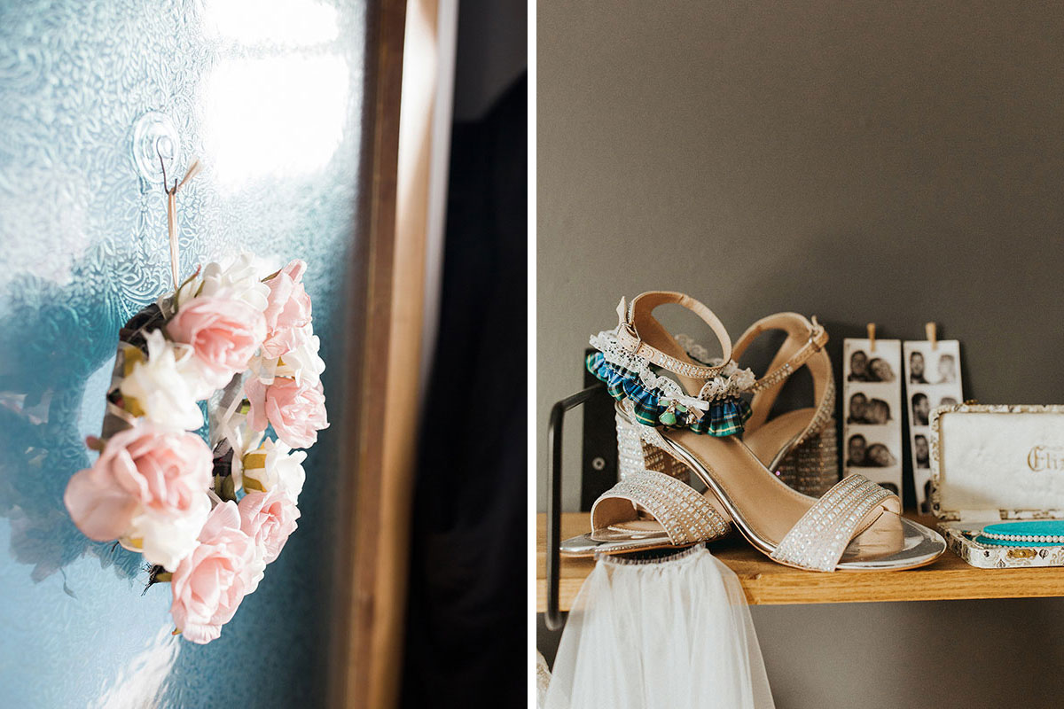 Hemera Visuals Dalswinton pink flower wreath and bride wedding shoes and garter