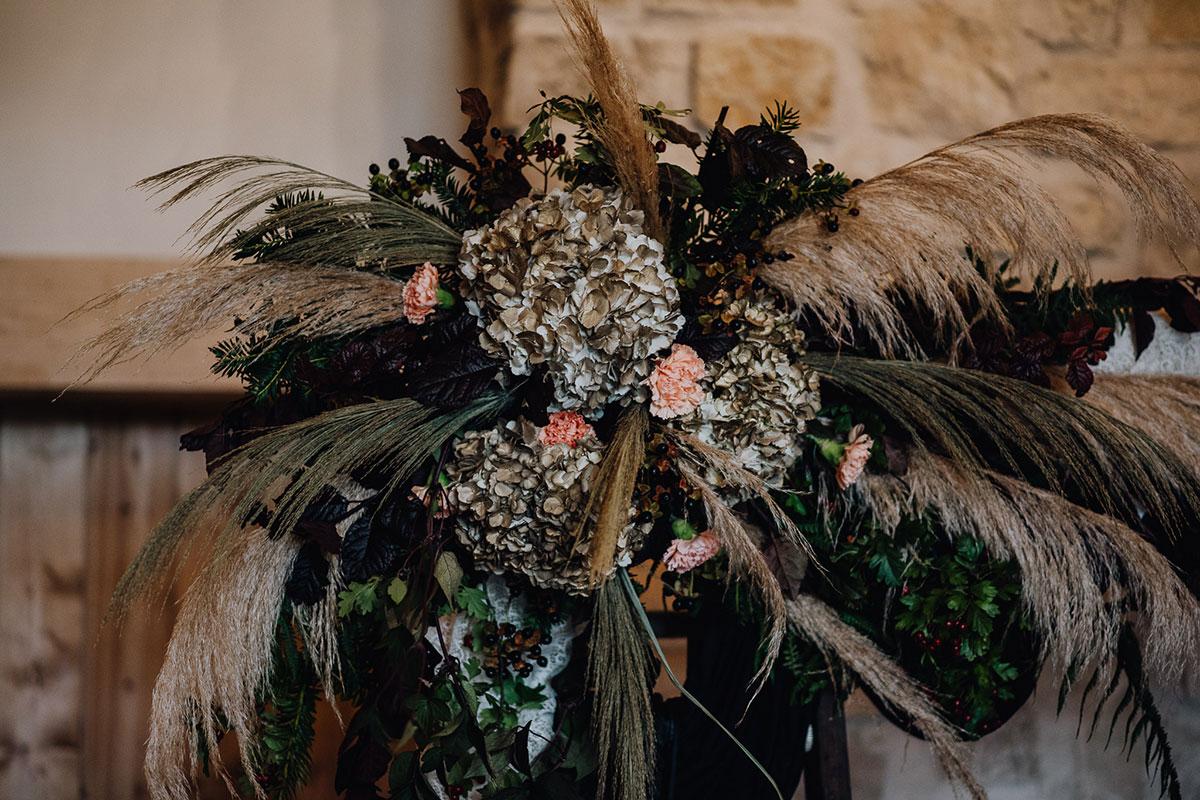 Roodlea-Barn-autumn-gothic-halloween-barn-wedding-styled-flowers