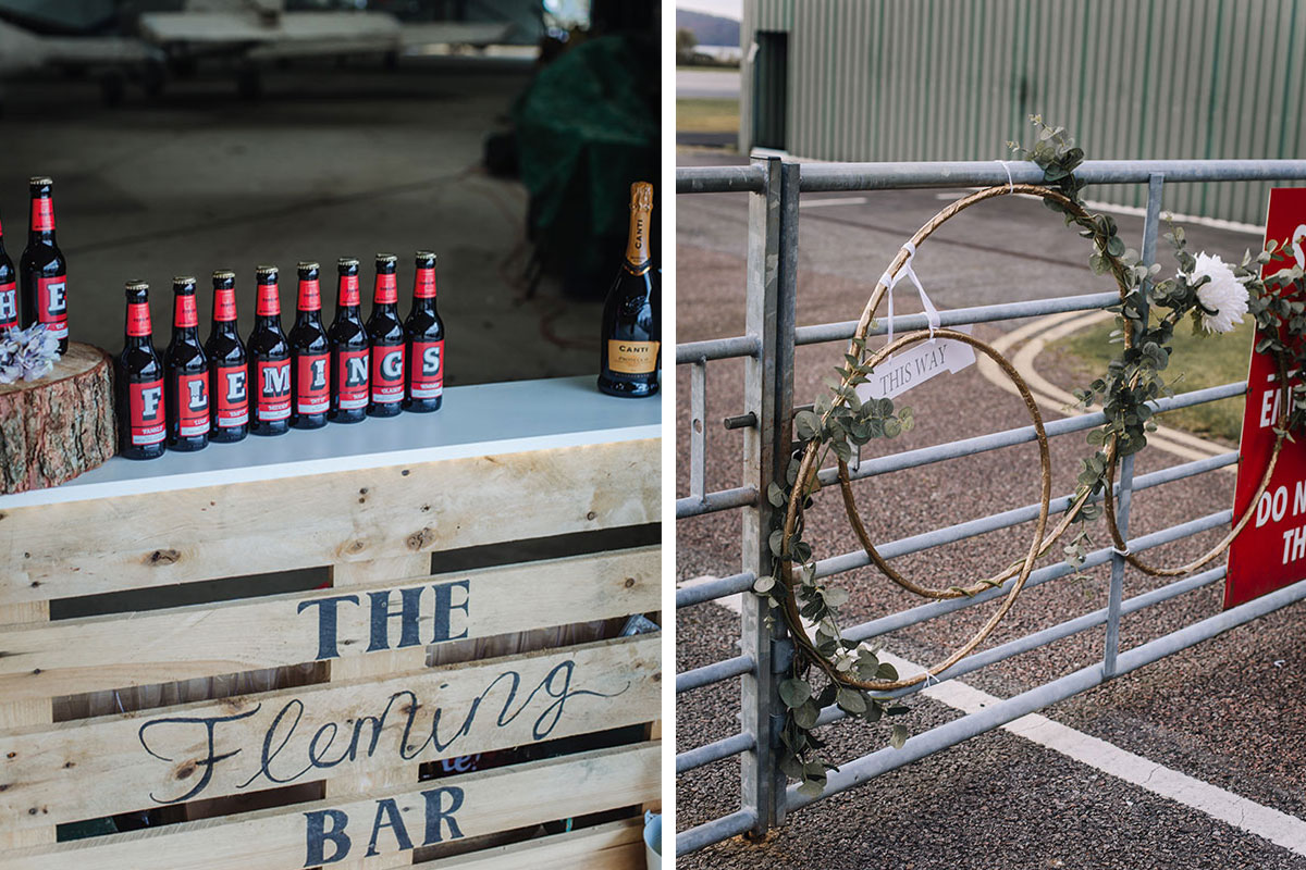 pallet-bar-at-wedding-oban-airport-with-customised-beer-gate-decorated-for-wedding-at-oban-airport