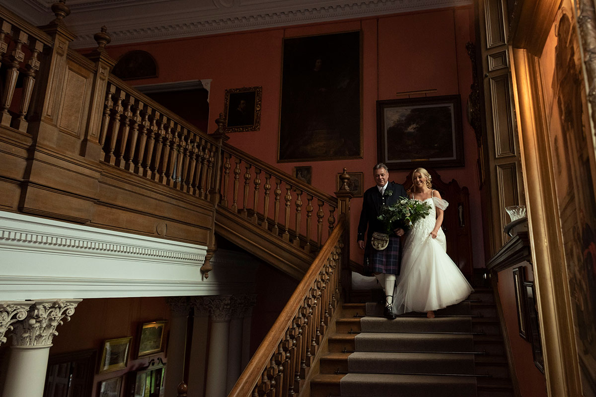 bride-and-dad-going-down-stairs-errol-park