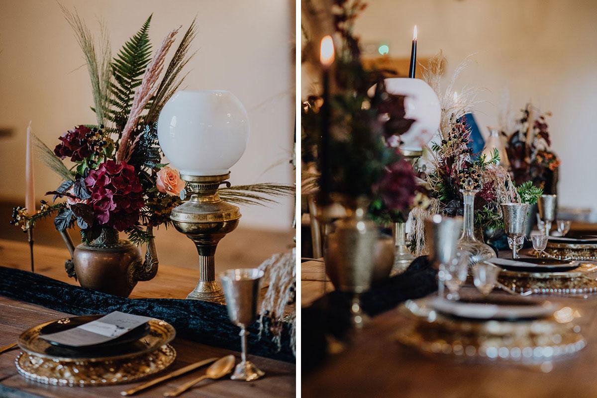 Roodlea-Barn-autumn-gothic-halloween-barn-wedding-styled-table-flowers-place-setting