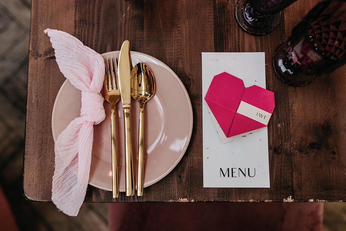 Anatomy Rooms Aberdeen wedding table setting menu Paper Skeleton