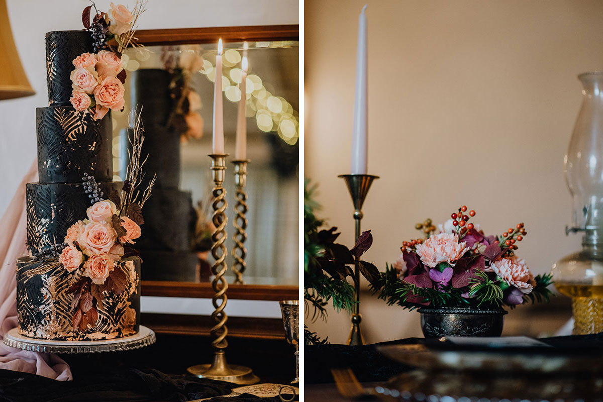 Roodlea-Barn-autumn-gothic-halloween-barn-wedding-styled-wedding-cake-table-flowers
