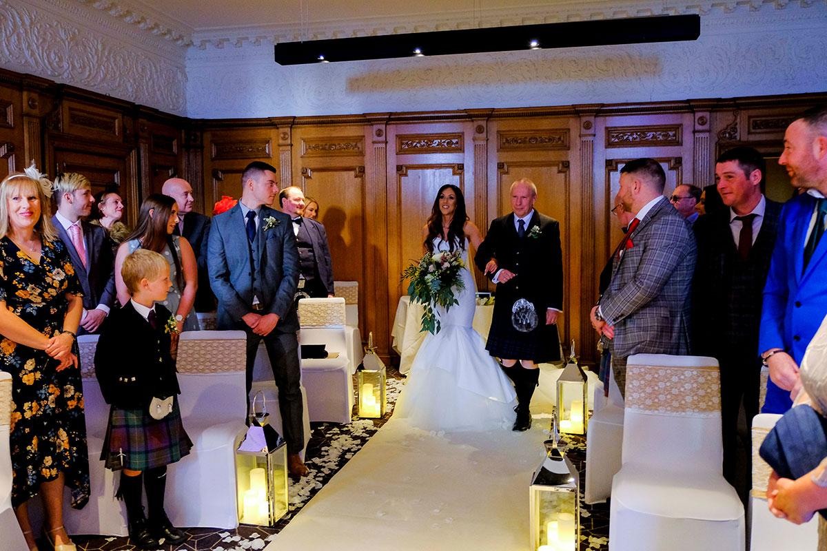 bride-being-given-away-apex-hotel-edinburgh