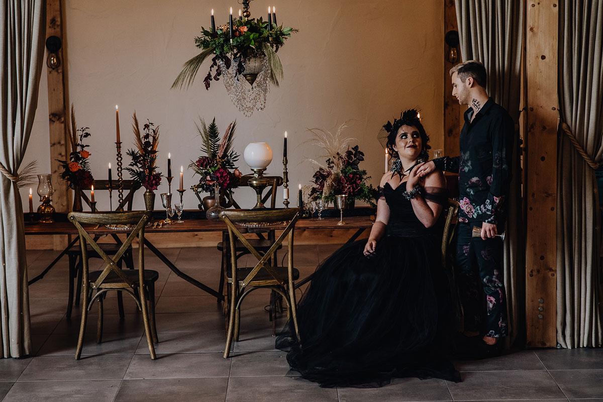 Roodlea-Barn-autumn-gothic-halloween-barn-wedding-styled-table-bride-groom