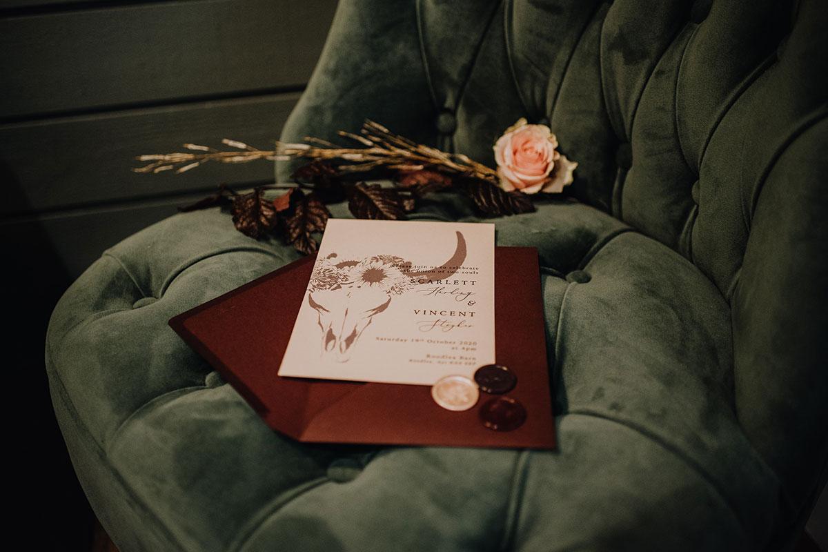 Roodlea-Barn-autumn-gothic-halloween-barn-wedding-stag-antler-stationery