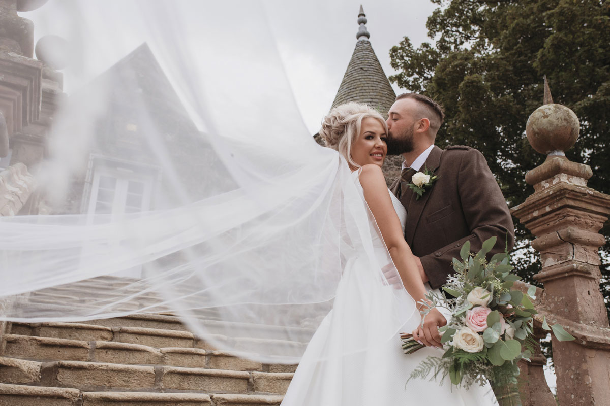 Aboyne Photographics Meldrum House Aberdeen wedding venue bride and groom