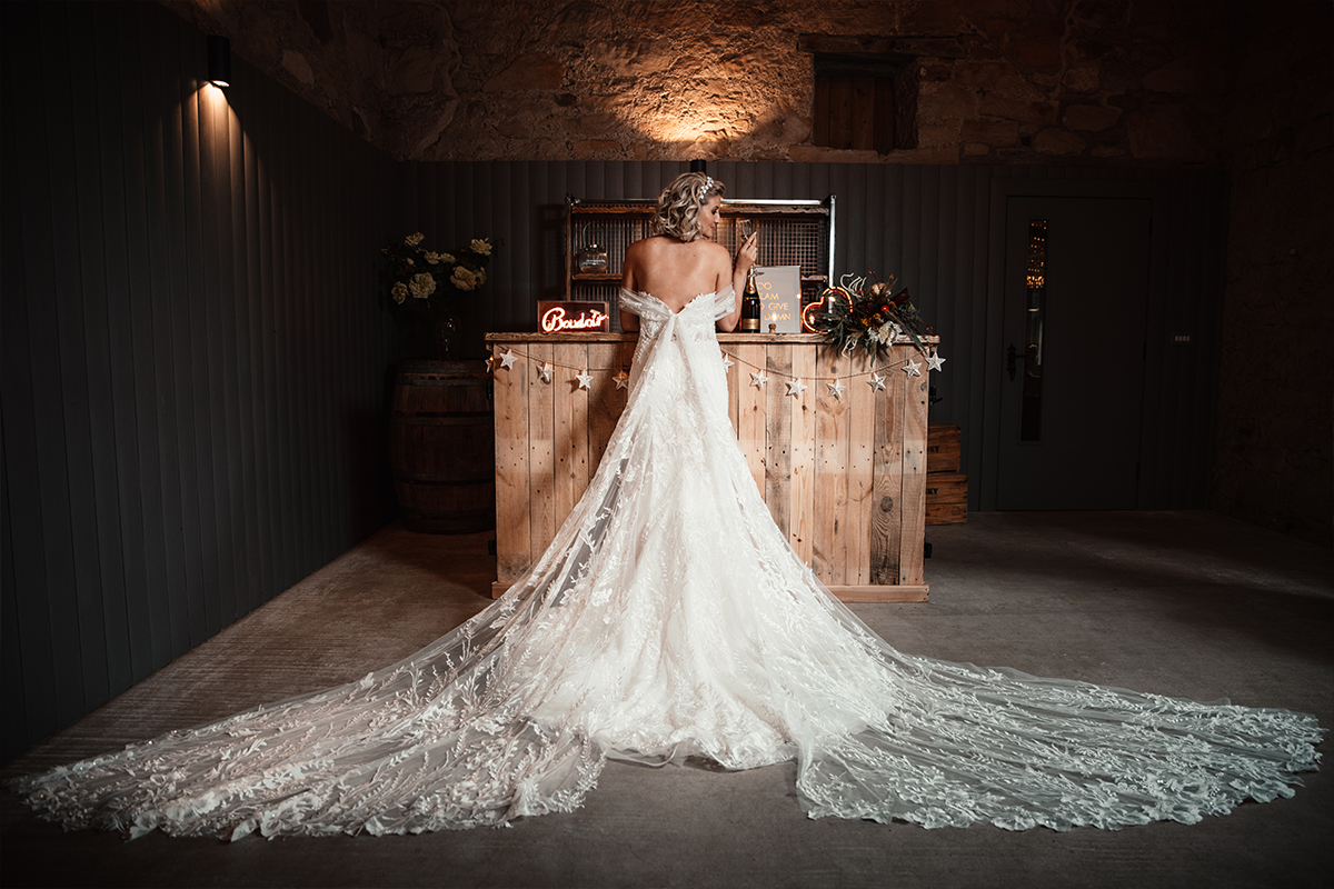 Amy King Bridal dress with long split train