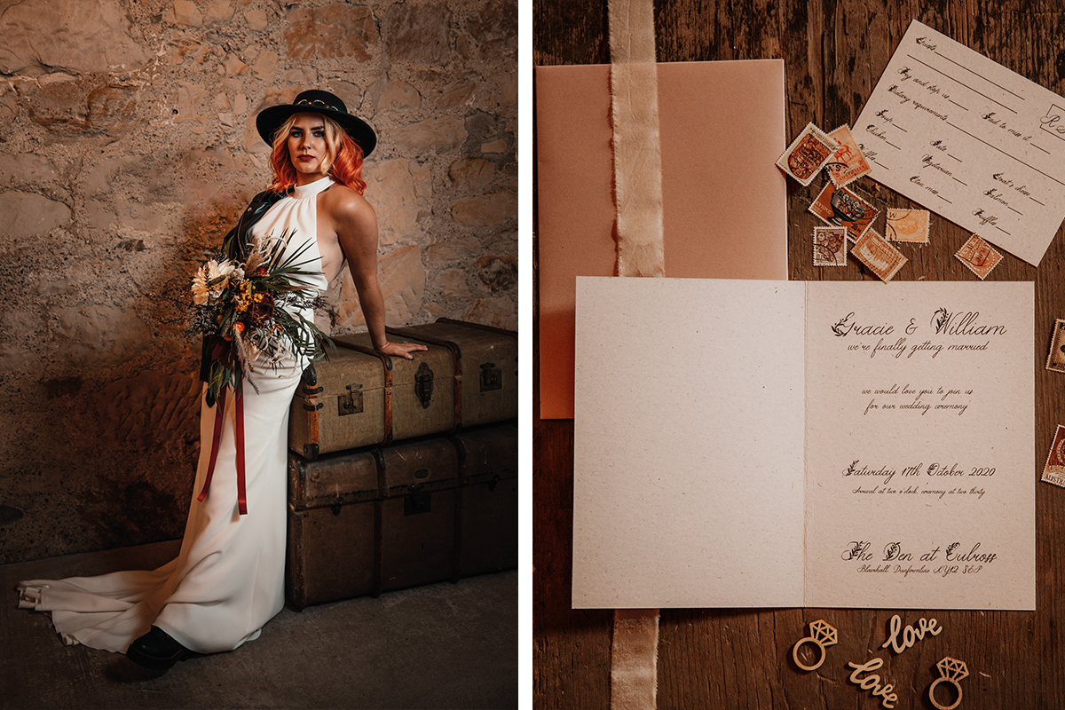 Amy King Bridal halterneck dress and Flutterbreeze blush stationery