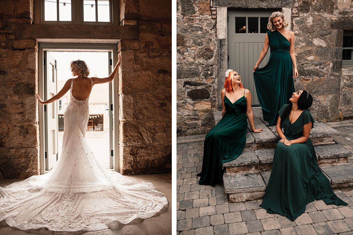 Amy King Bridal gown with long train and emerald bridesmaid dresses