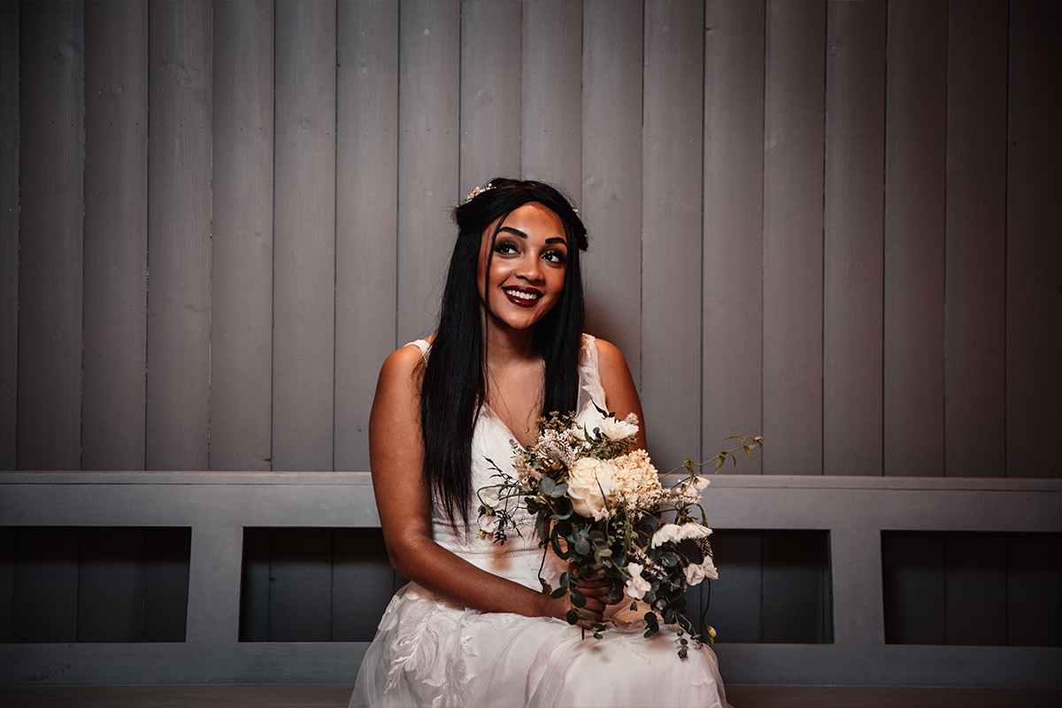 Amy King Bridal gown and The Flower Ranger bouquet