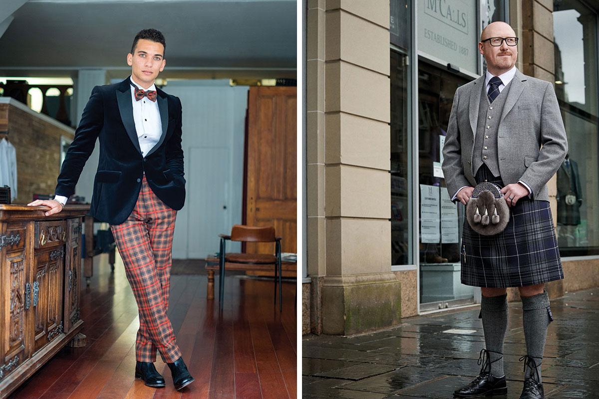 Gordon Nicolson tartan trews outfit and McCalls grey kilt outfit