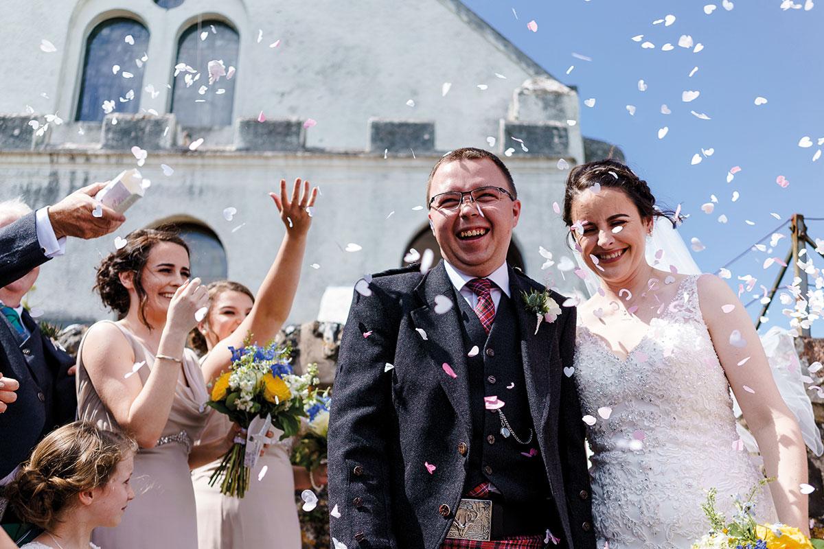 Isle-of-Lismore-Wedding-Photography-Barry-Robb-confetti-outside-church