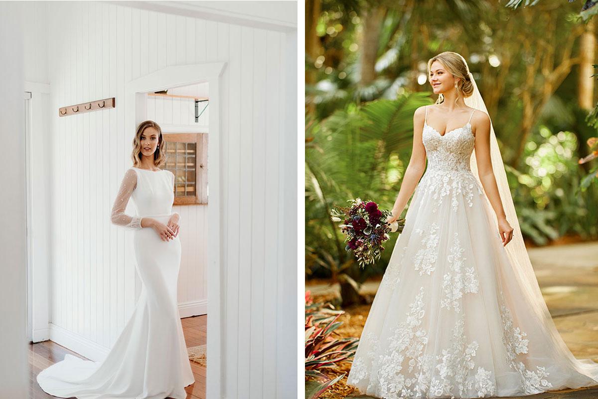 bride wearing Wendy Makin wedding dress; bride wearing Essence of Australia wedding dress
