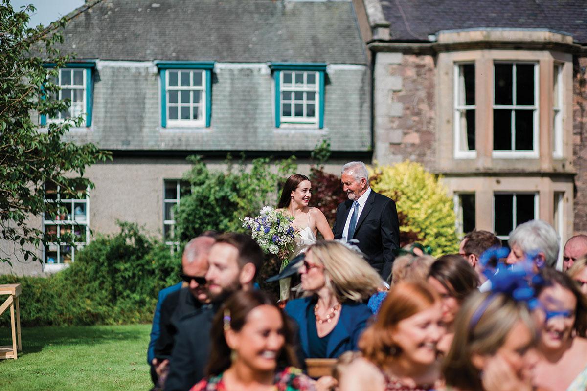 cormiston farm wedding mirrorbox photography bride being given away