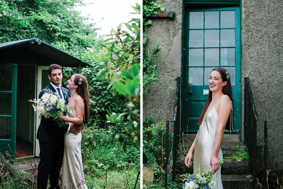 cormiston farm wedding mirrorbox photography bride and groom and bride laughing with bouquet by green door