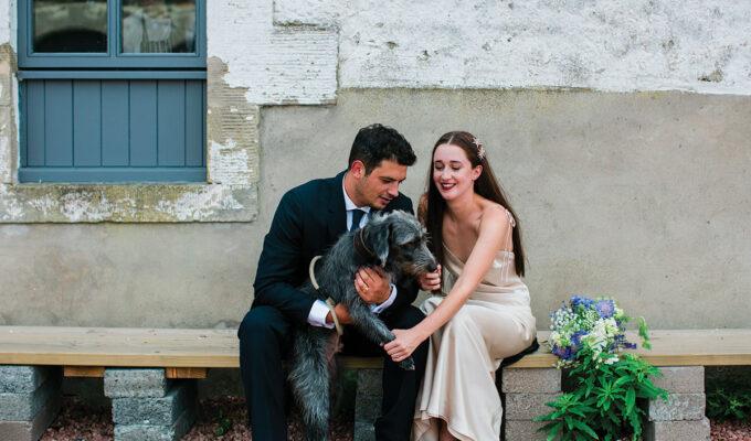 cormiston farm wedding mirrorbox photography bride and groom with dog