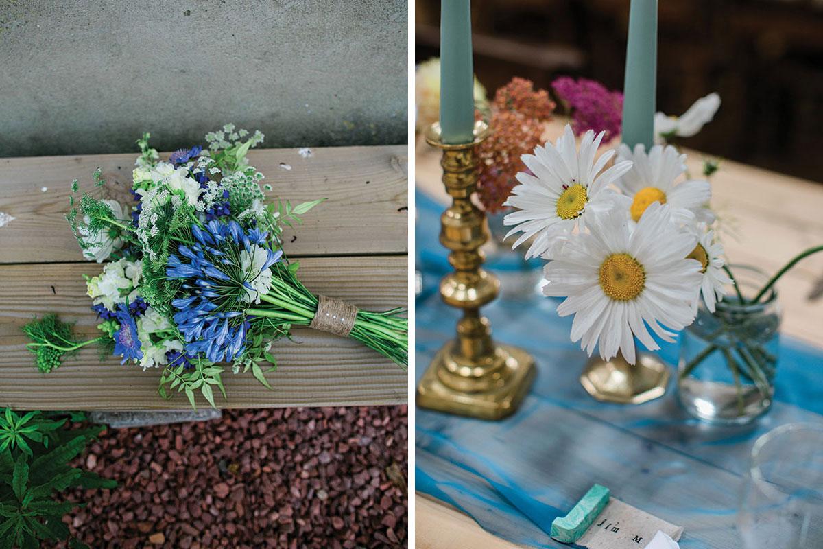 cormiston farm wedding mirrorbox photography wildflower bridal bouquet and flowers in jam jars
