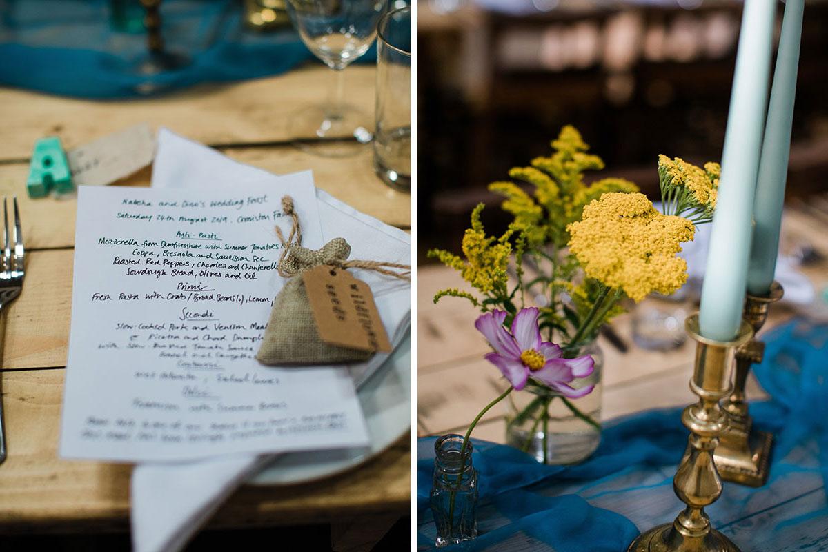 cormiston farm wedding mirrorbox photography handwritten food menu and wildflowers in jar with brass candlesticks