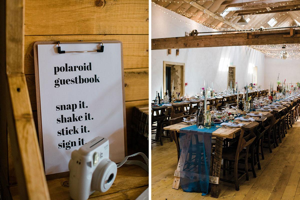 cormiston farm wedding mirrorbox photography polaroid wedding sign and barn tables set for dinner