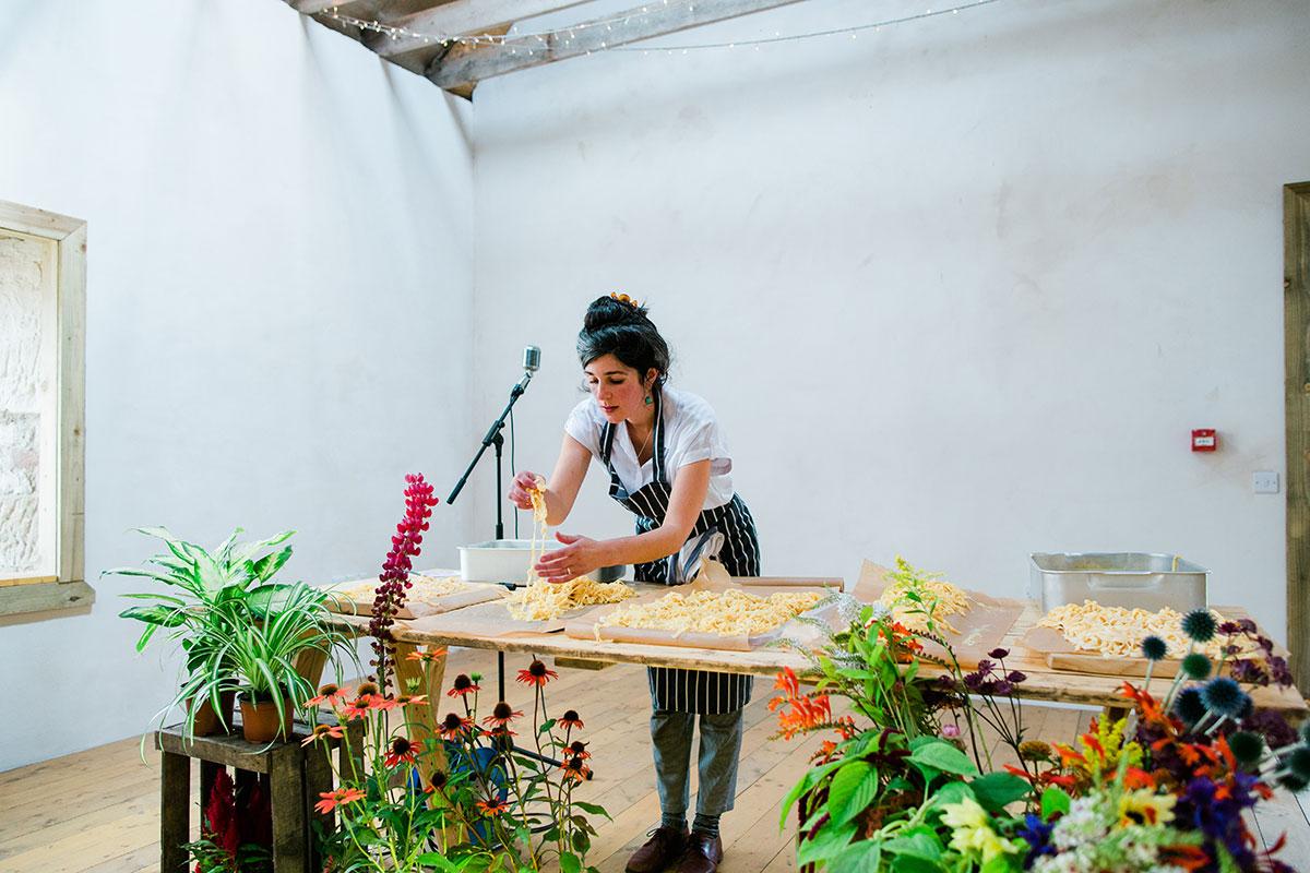 cormiston farm wedding mirrorbox photography kitchen east making pasta