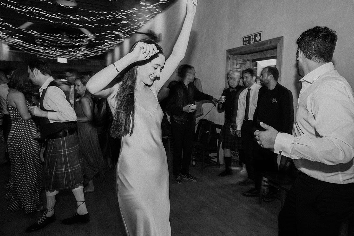 cormiston farm wedding mirrorbox photography bride and groom dancing