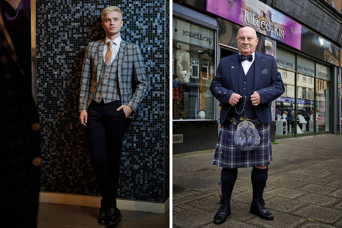 Remus Uomo checked suit and Kilted Kin tartan kilt outfit