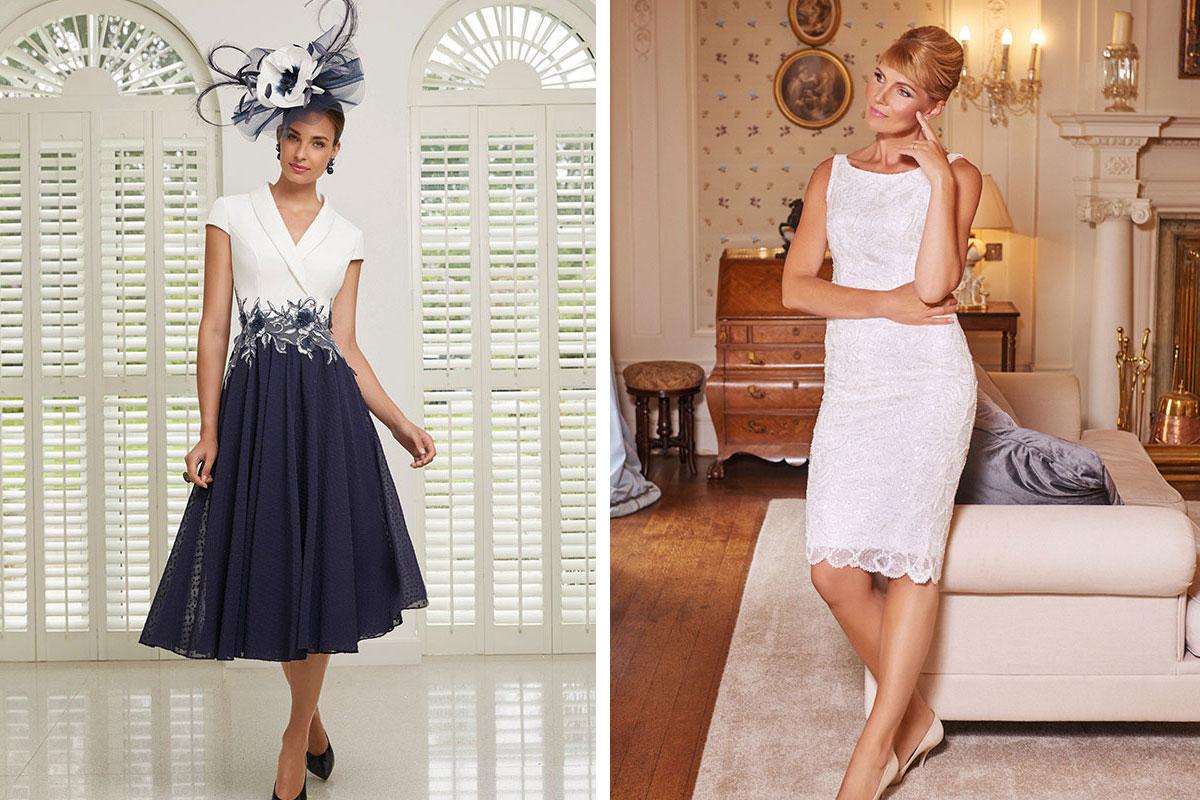 lady wearing navy and white Veni Infantino dress; lady wearing pink Joyce Young shift dress
