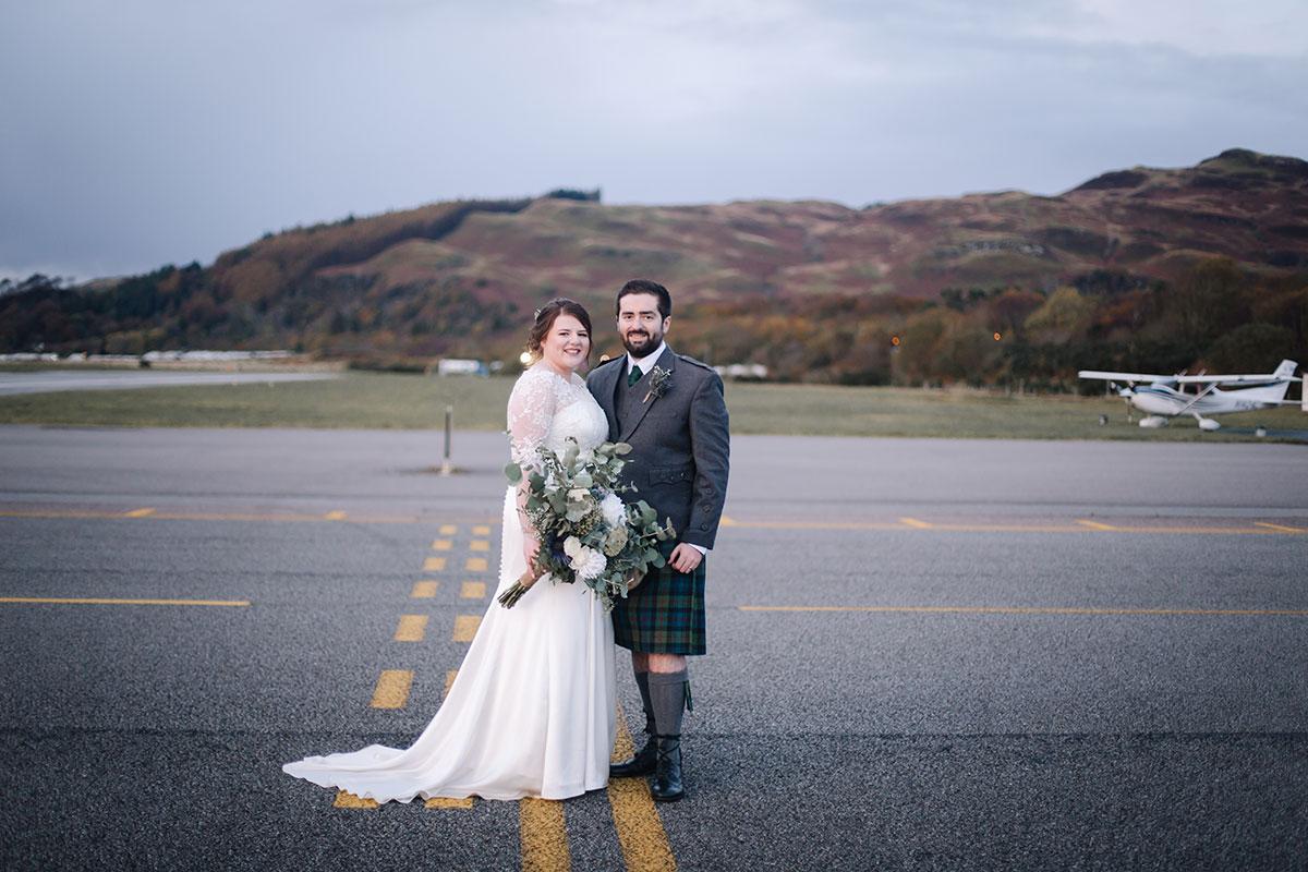 bride-groom-on-runway-oban-airport-wedding