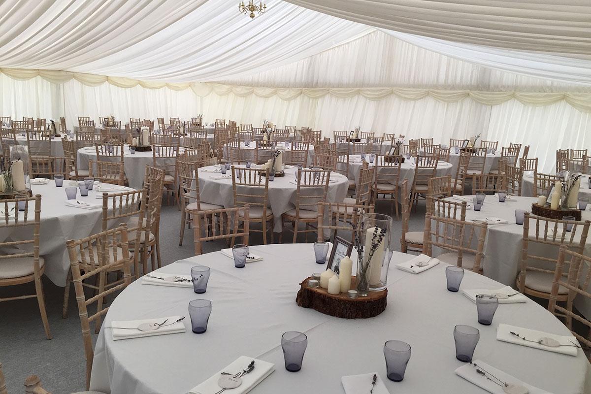 Duntarvie Castle wedding marquee interior