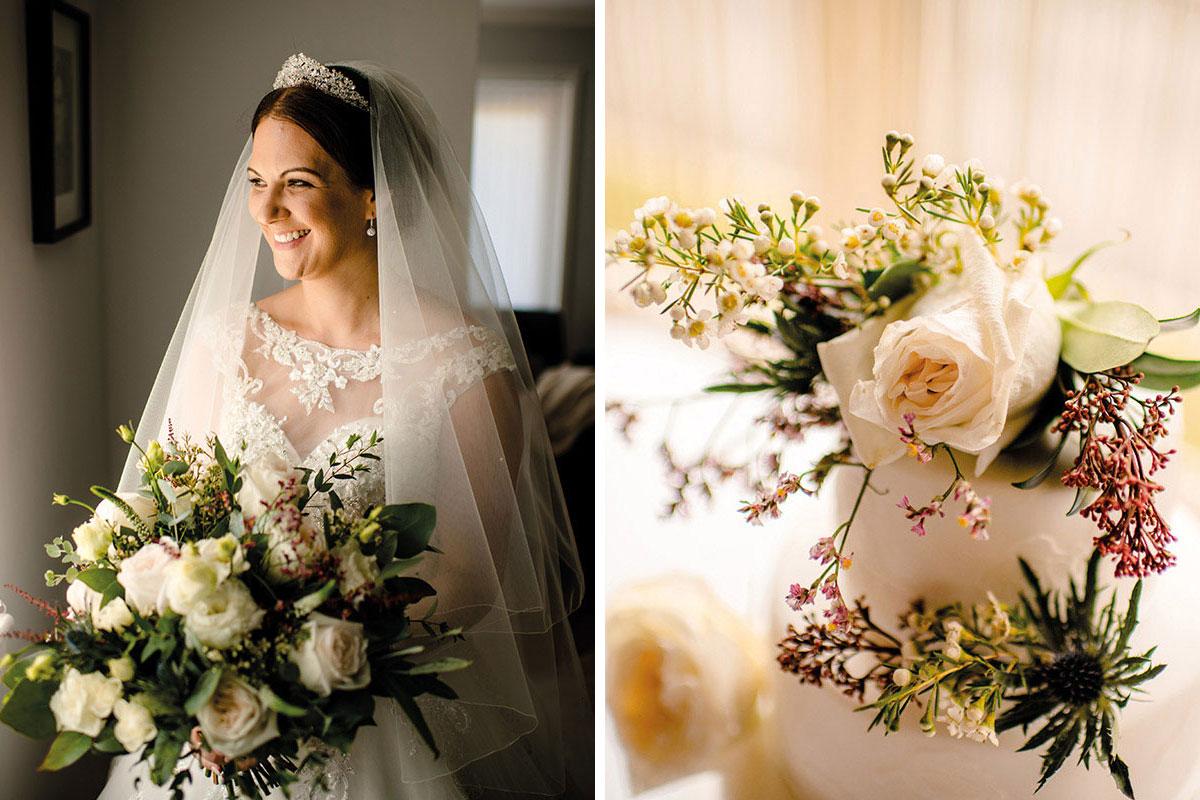 bride holding bouquet by Fleur & Blume; floral cake decoration by Fleur & Blume