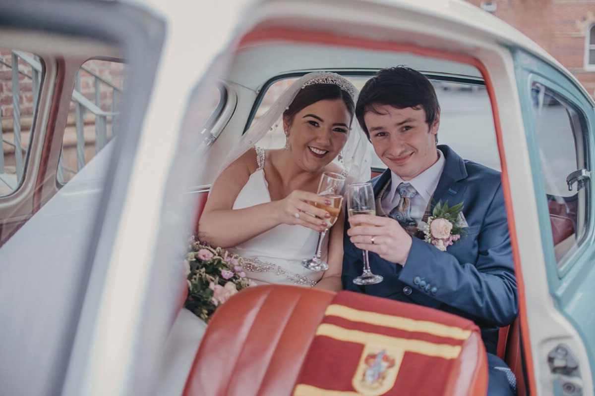Star Car Hire newlywed couple in a Ford Anglia