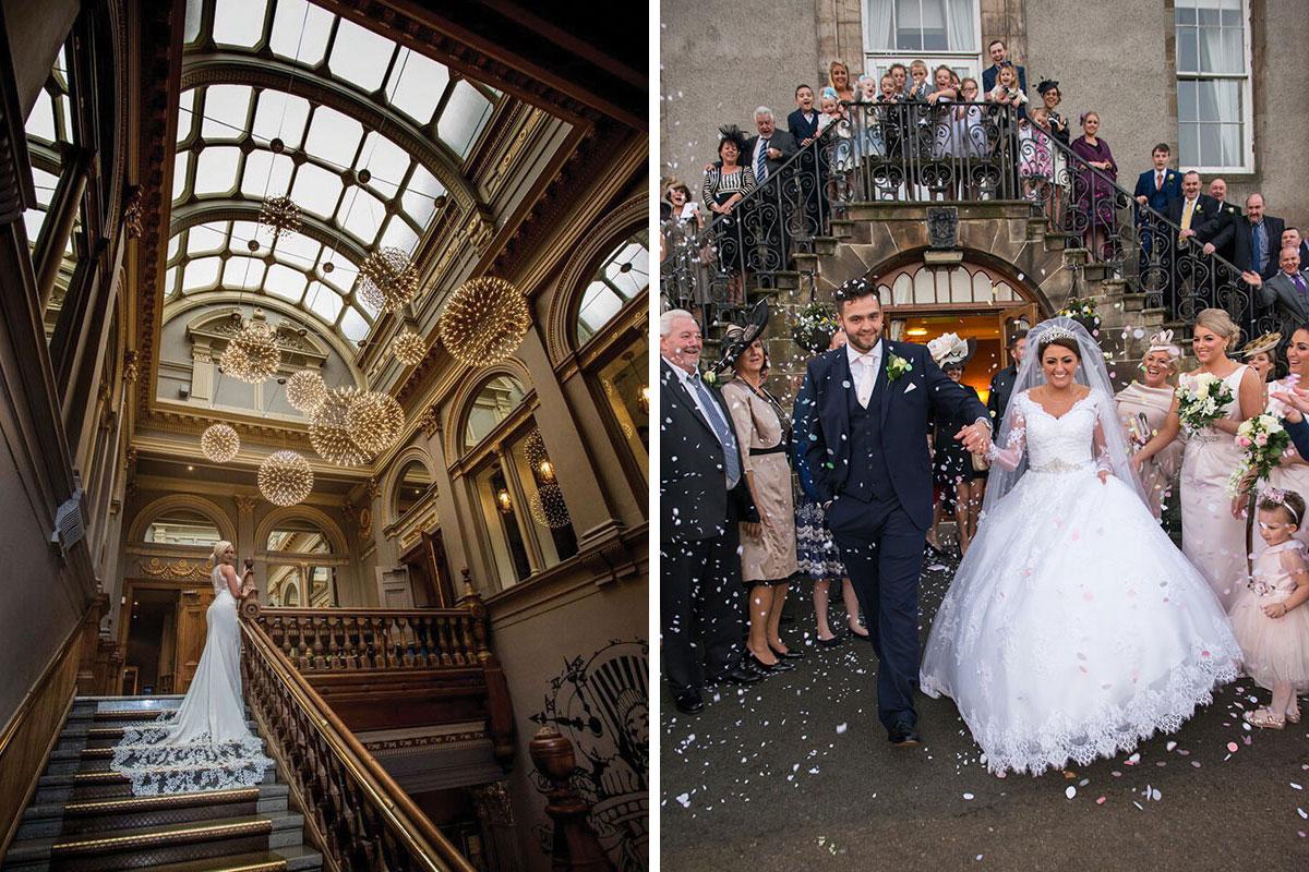 the-corinthian-glasgow-bride-staircase-dalmahoy-hotel-staircase-wedding-group