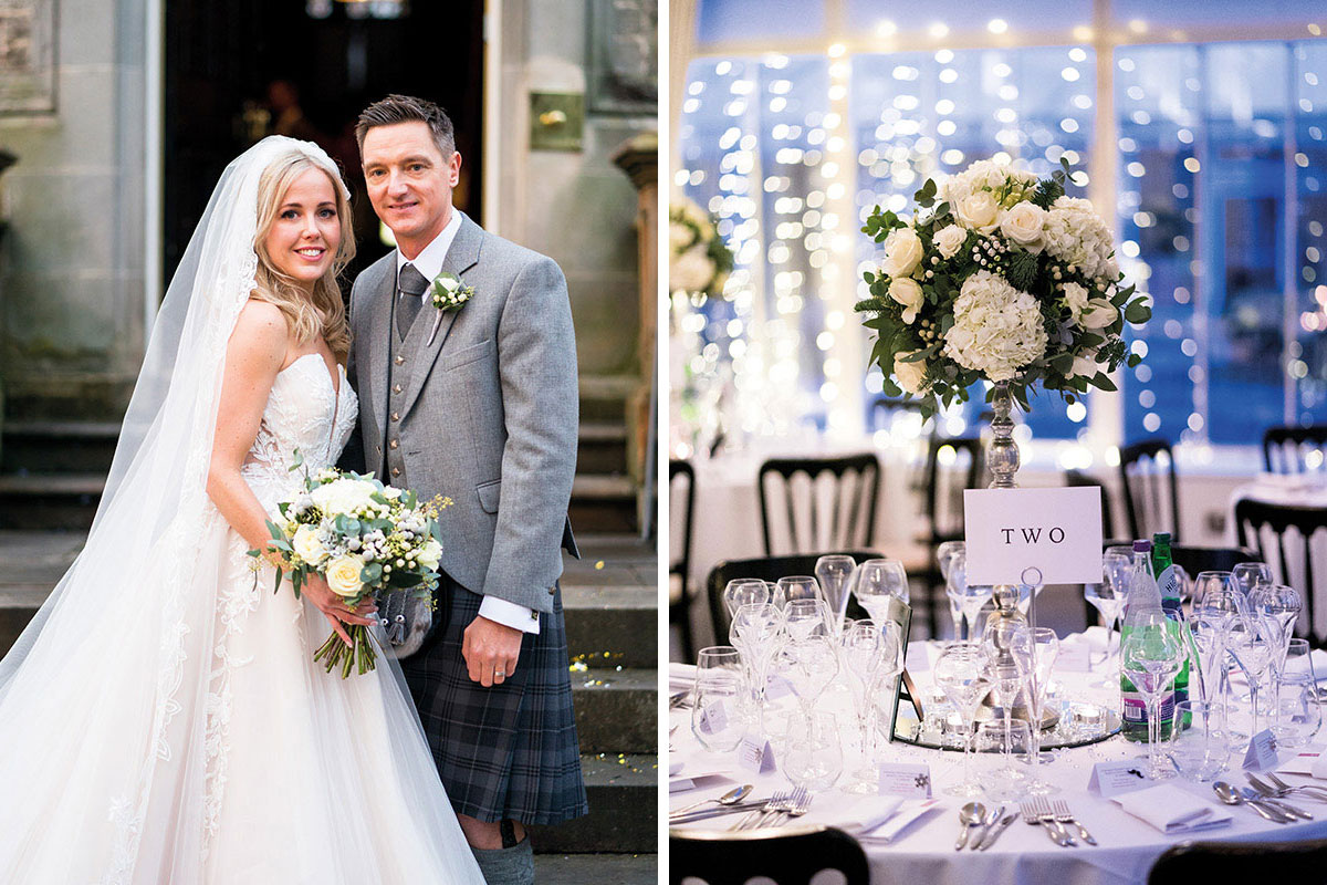 groom with bride holding white bouquet by Trudi Todd; white floral centrepiece by Trudi Todd Flowers