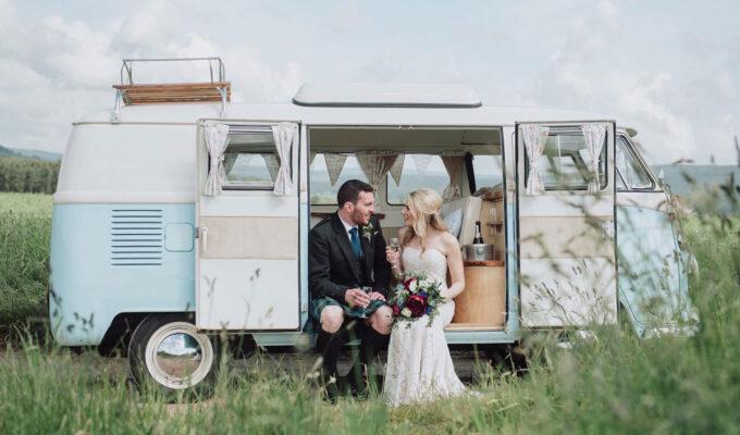 View From the Slow Lane wedding Volkswagen camper van