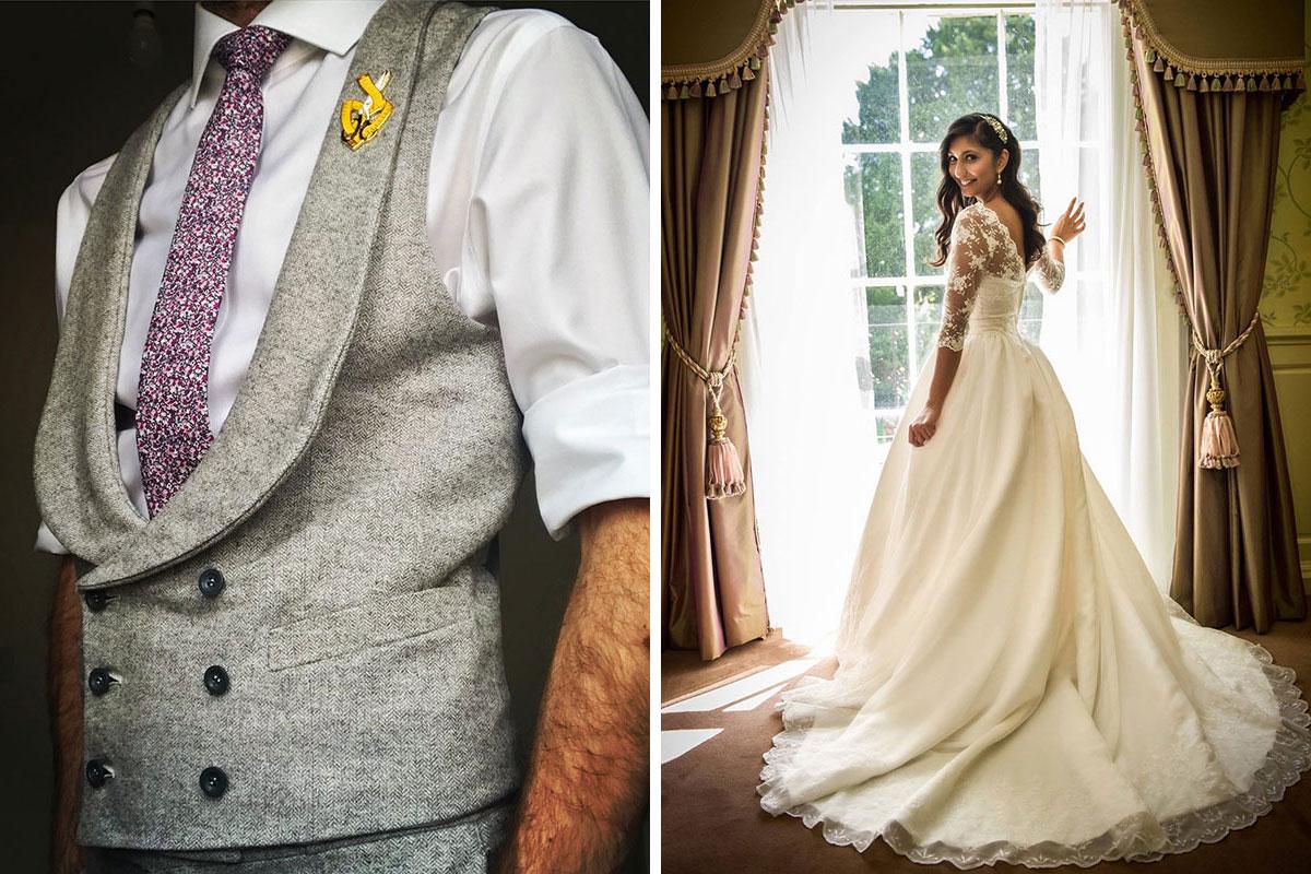 Alexander James Bespoke waistcoat and wedding dress