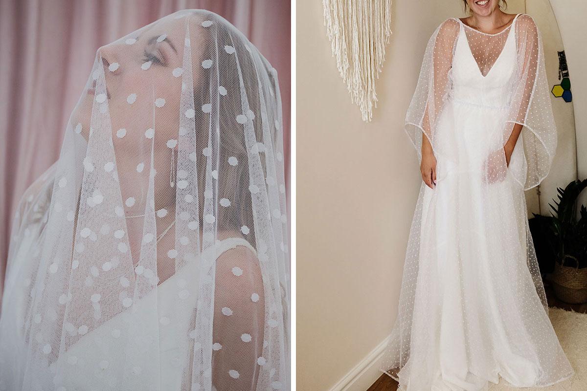 Polka dot veil and wedding dress by The Boho Bride