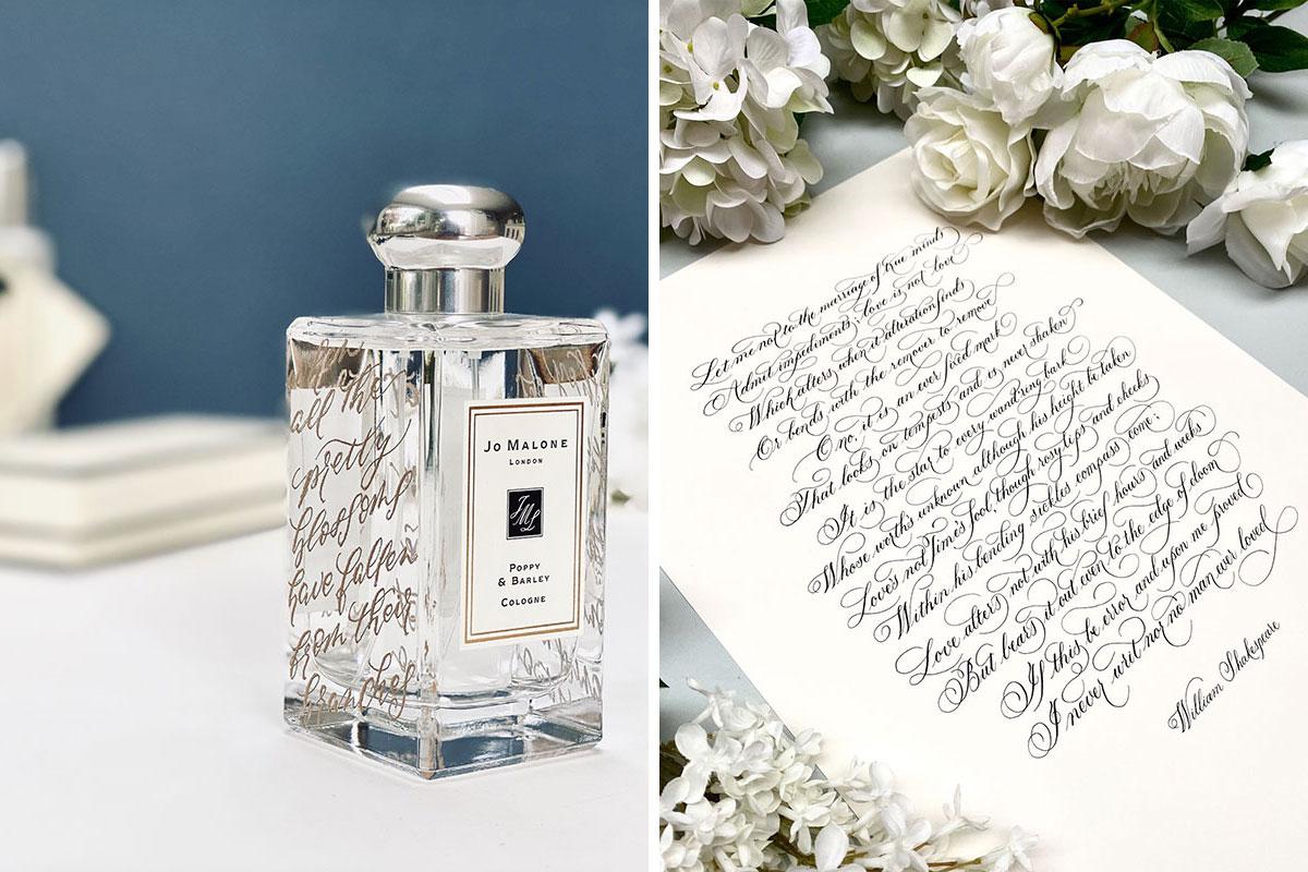 Engraved perfume bottle and wedding calligraphy