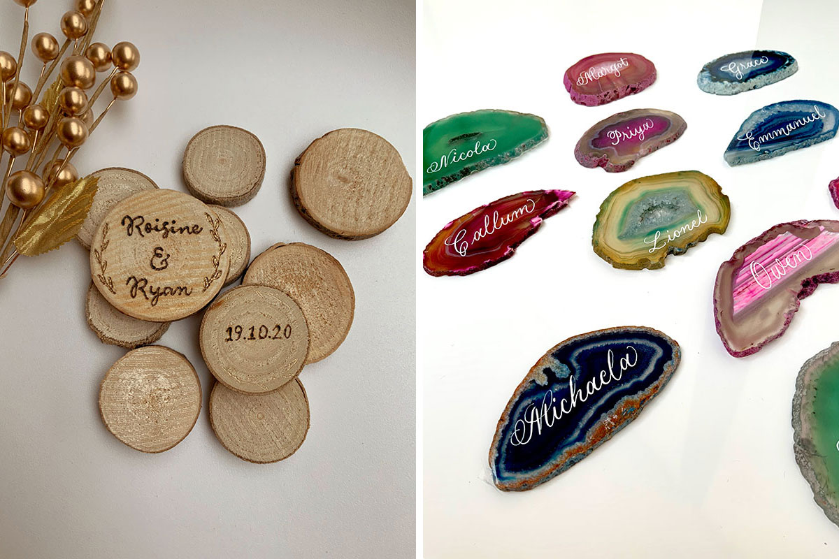 Wood and agate engraved wedding favours