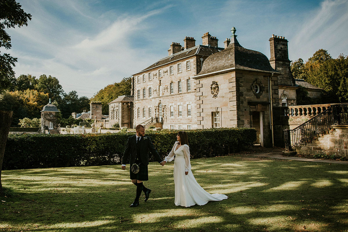 National Trust for Scotland Luna and Dean wedding at Pollok House by John Johnston Photography
