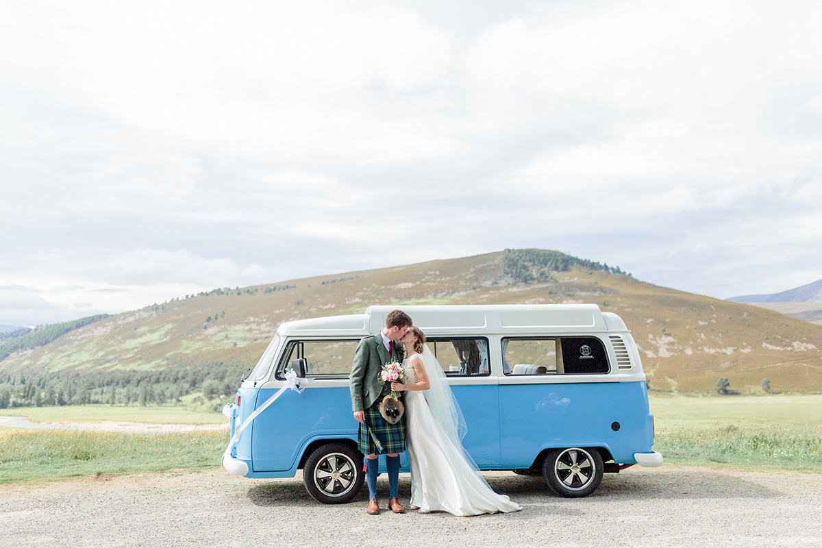 National Trust for Scotland Mar Lodge bride and groom with camper van