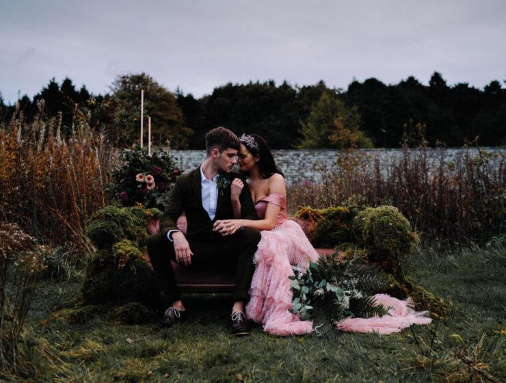 A couple in the Dunglass Estate gardens