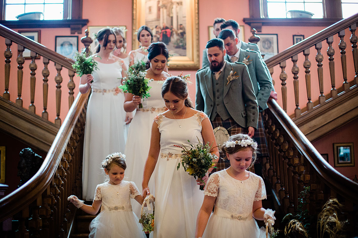 Bridal party on staircase at Errol Park
