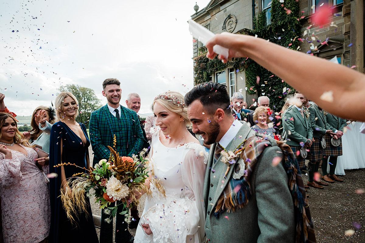 Bride and groom confetti Errol Park