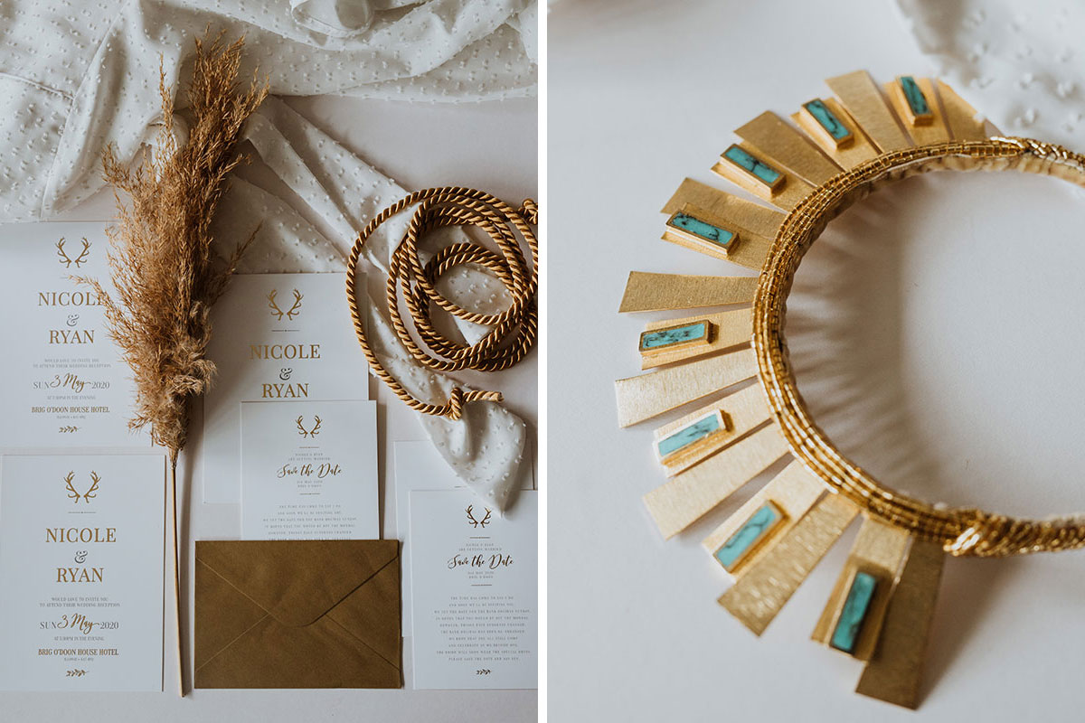 bottled love wedding stationery and gold and jade hair band