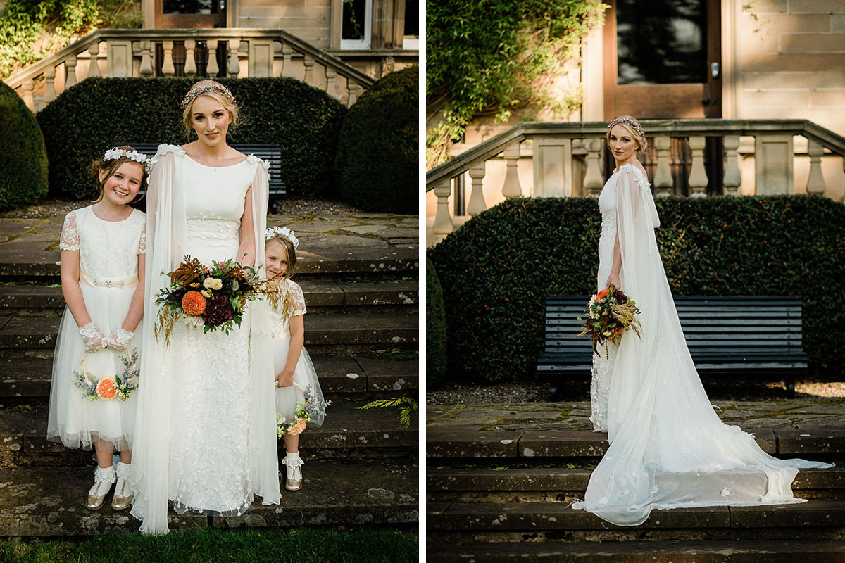 Bride with flower girls and wearing cape
